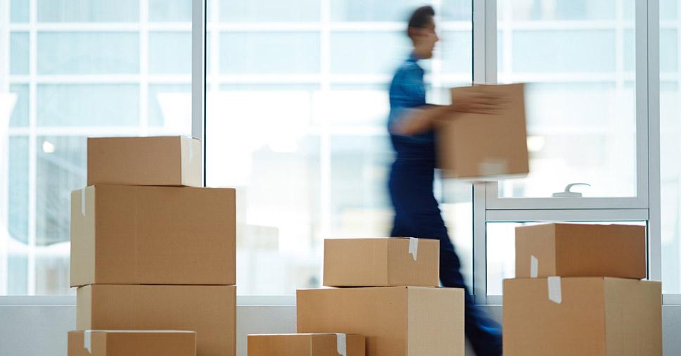 Caixas preparadas para o transporte comercial